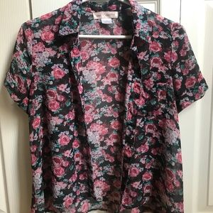 Band of Gypsies Sheer Floral Button-Up